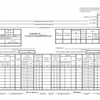 Рапорт о работе башенного крана. Форма ЭСМ-1