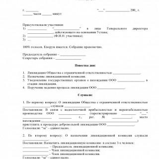 Протокол о ликвидации ООО