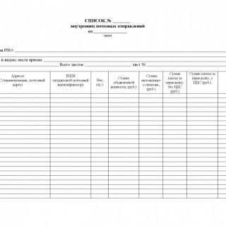 Форма 103. Список для отправки партионных почтовых отправлений