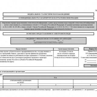 Сведения о финансовом состоянии организации. Форма П-3