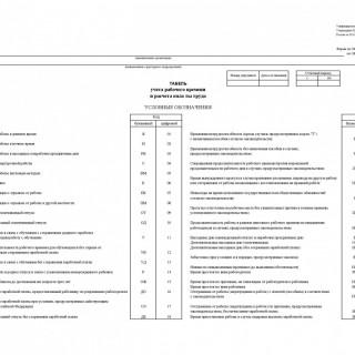 Табель учета рабочего времени и расчета оплаты труда. Форма Т-12