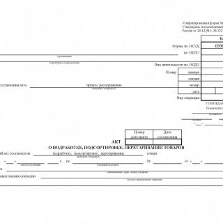 Акт о подработке, подсортировке, перетаривании товаров. Форма ТОРГ-20