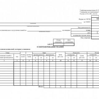 Акт о перемеривании тканей. Форма ТОРГ-24