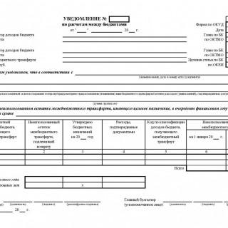 Уведомление по расчетам между бюджетами. Форма 0504817
