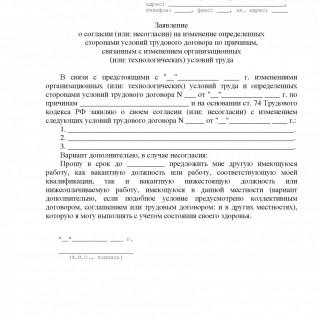 Заявление об изменении определенных сторонами условий трудового договора